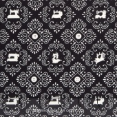 Cute as a Button - Sewing Machine Medallions Black Yardage
