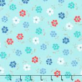 Backyard Blooms - Tossed Flower Aqua Yardage