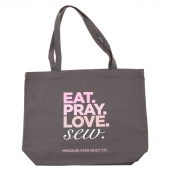 Missouri Star EAT, PRAY, LOVE, SEW Canvas Tote Bag
