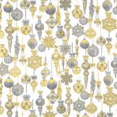 Stonehenge White Christmas - Bauble Neutral Gold Metallic Yardage