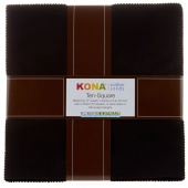 Kona Cotton Solids - Black Ten Squares