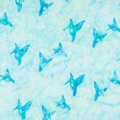 Artisan Batiks Hummingbird Lane - Birds Aqua Yardage