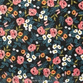 Wonderland - Painted Roses Black Rayon Yardage