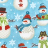 Winterfleece Prints Conversational - Folk Snowmen Aqua Fleece Yardage