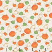 Happy Fall - Tossed Pumpkins Farmhouse White Yardage