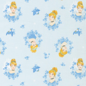 Disney Forever Princess - Cinderella in Wreaths in Light Blue Yardage