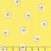 Oops A Daisy - Daisy Dot White on Yellow Yardage