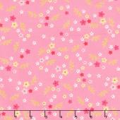 Stardust - Tiny Floral Pink Metallic Yardage