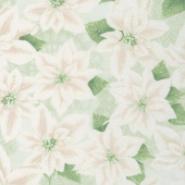 Let It Sparkle - Pearly Poinsettia Silver Sage Yardage