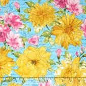 Garden Splendor - Large Flowers Blue Yardage