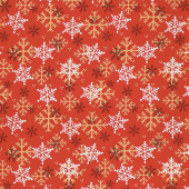Timber Gnomies - Snowflake Red Yardage