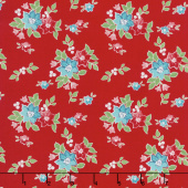 Seaside - Floral Red Yardage