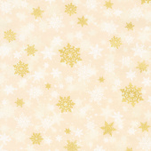 Winter's Grandeur 8 - Holiday Snowflakes Gold Ivory Metallic Yardage