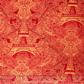 Holiday - Eiffel Tower Paisley Filigree Red Metallic Yardage