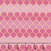 Let's Be Mermaids - Scallops Pink Sparkle Yardage
