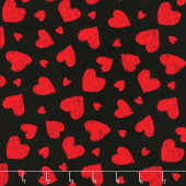 Novelty - Red Chalk Hearts Black Yardage