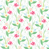 Cora - Happy Floral White Yardage