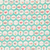 Flower Market - Hoops Teal Yardage