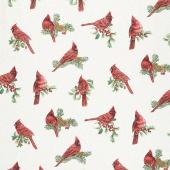 Winter Elegance - Winter Cardinals Natural Metallic Yardage