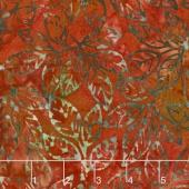 Artisan Batiks - Cornucopia 8 Leaf Sprigs Rust Yardage