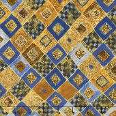 Gustav Klimt - Squares Diamonds Cobalt Metallic Yardage