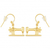 Sewing Machine Drop Earrings - Gold