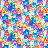 Cats - Painted Bright Cats Multi Yardage
