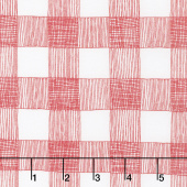 Farm Fresh - Rustic Gingham Cloud Rooster Red Yardage