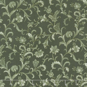 Lilacs in Bloom - Vine Scroll Green Yardage