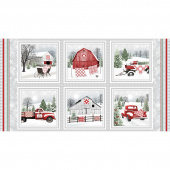Holiday Heartland - Barns and Trucks in Block Gray Red Panel