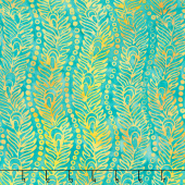 Peacock Galore Batiks - Wavy Peacock Feather Aquamarine Yardage