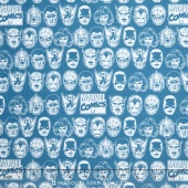 Marvel Comics III - Character Heads Teal Yardage