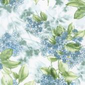 Watercolor Hydrangeas - Hydrangeas Blue Yardage