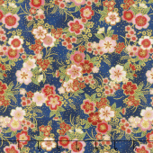 Imperial Collection 15 - Spring Cluster Flowers Blue Metallic Yardage