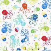 Snorkel Adventure - Tossed Octopus Optic Yardage