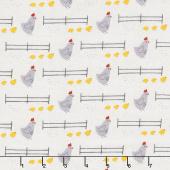 Wildflower Farm - Chickens Light Gray Yardage