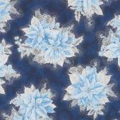 Holiday Flourish 13 - Blue Poinsettia Bouquet Navy Metallic Yardage