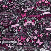 Novelty - Pink Ribbon Chalkboard Black Yardage