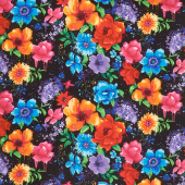 Novelty - Night Bloom Large Florals Black Yardage
