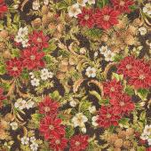 Poinsettias and Pine Metallic - Ebony Yardage