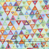 Loca Linda - Triangles Blue Green Yardage