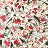 Rose Garden - Vintage Seed Packets Black Yardage