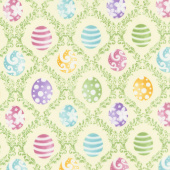 Hoppy Easter - Easter Egg Harlequin Yellow Yardage