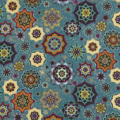 Grand Illusion - Tossed Medallion Teal Metallic Yardage