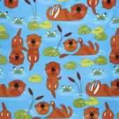 Winterfleece Prints Children - Otters Multi Yardage