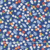 Feed Sacks: True Blue - Posies Navy Yardage