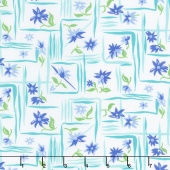 Flower Sacks - Flower Boxes Blue Yardage