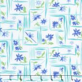 Flower Sacks - Flower Boxes Blue Yardage