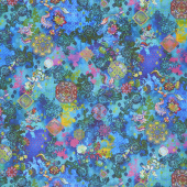 Flourish - Treasured Trinkets Deep Turquoise Digitally Printed Yardage
