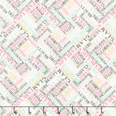 Glam Girl - Glam Words White Metallic Yardage